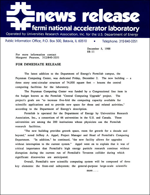 Fermilab news release on the dedication of the Feynman Computing Center, page 1