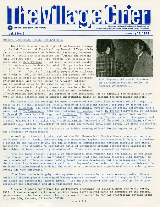 The Village Crier, vol. 5, no.2 (January 11, 1973), page 1