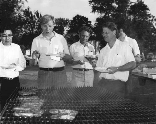 Aki Yokosawa, Alvin Tollestrup, Leon Lederman and Robert Wilson at the 1970 NAL Summer Study picnic