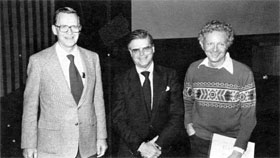 Three Fermilab Leaders (L-R); P. V. Livdahl, R. R. Wilson, L. Lederman