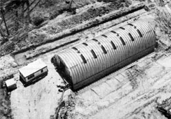 "An aerial view of the ""Wonder Building"" located near the intersection of Wilson and McChesney Roads, where Caltech experimenters worked"