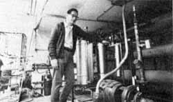 Frank Krzich at water cooling system of Neutrino Laboratory