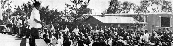 NAL employees gathered outside the Curia on Thursday, June 15, 1972 for Directors meeting