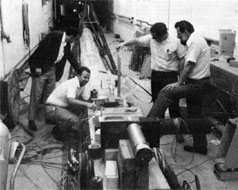 (L to R) R. Lundy, K. Pretzl, R. Kolar, L. Voyvodic at the location of the emulsion experiments