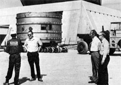 (L to R) Russell Huson, Hans Kautzky, William Fowler arranging the move of the giant magnet to its final location in May, 1972