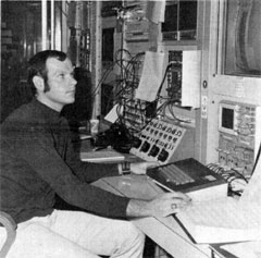 Gerry Ortlieb at the Booster console