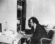 Steve Olson at the PDP 11 computer which will gather data for Experiment 36