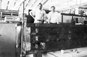 J. Klems, H. Lubatti at the SOD magnet after experimenters have finished winding 101 turns on the iron in an all-night session