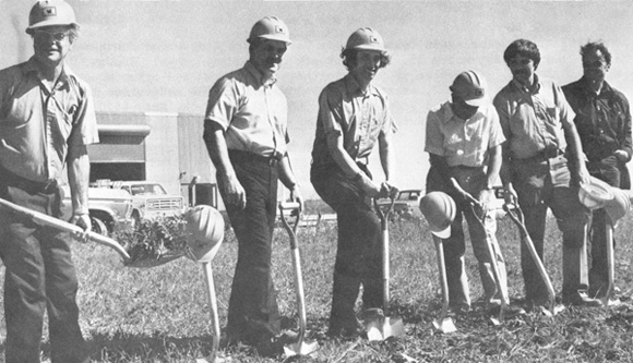 Breaking ground for Pion Area: (L-R) R. Wilson, J. McCook, J. Peoples, E. Goldwasser, B. Cox, and D. Jovanovic