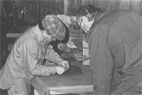 T. Donaldson (L), project director, demonstrates his technique for a fellow worker