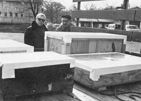 Bob Adams (L), Safety, Bill Thomas, Proton, check in beryllium shipment