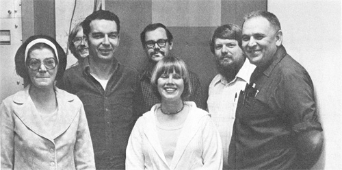 Some CTF staff members pose for a photo between patients. L-R are: K. Gehl, J. Jeurink, I. Rosenberg, D. Spelbring, J. Maxwell, A. Jones, and M. Awschalom. (Not shown: D. Young, J. Ovadia)