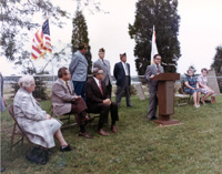 Donald R. Getz, NAL Assistant Director, spoke at the September 24th ceremony rededicating the grave of General Thompson Mead in NAL's Pioneer Cemetery.