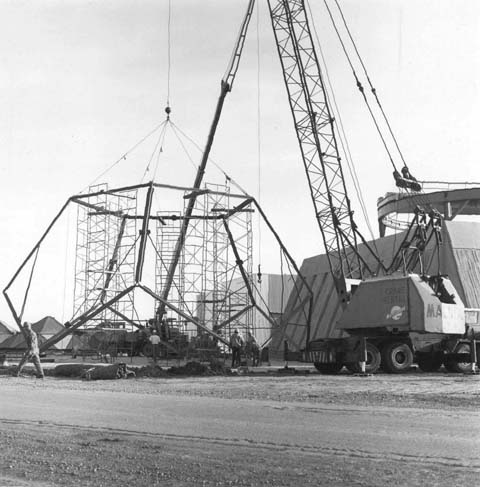 Neutrino dome under construction, 1971
