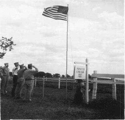 Members of the VFW at Pioneer Cemetery, 1958