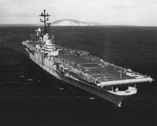 The USS Princeton underway. Three-quarter starboard bow view