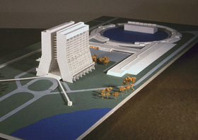Model of proposed Central Laboratory Building. Caisson construction began late in 1970. Plans call for 16-story, twin tower building with approximately 400,000 square feet of floor space. Architect: Alan Rider, Washington, D.C.