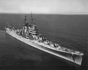 The USS Worchester at sea. Three-quarter starboard side view.
